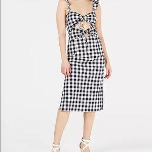 NWT LEYDEN Cutout Gingham Midi Dress